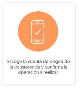 Escoge la cuenta de origen de transferencia y confirma la operación a realizar.