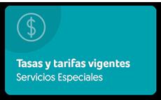 Ver tasas y tarifas vigentes servicios especiales