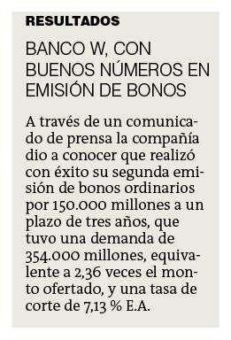 Banco W, con buenos números de emisión de bonos
