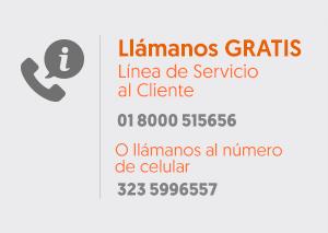 Llámanos GRATIS línea de servicio al cliente 01 8000 515656. Desde Cali 524 0102