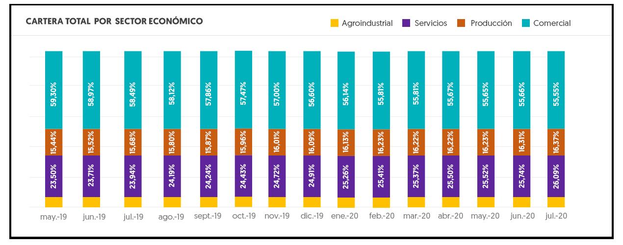 Gráfico Cartera por Sector Económico.